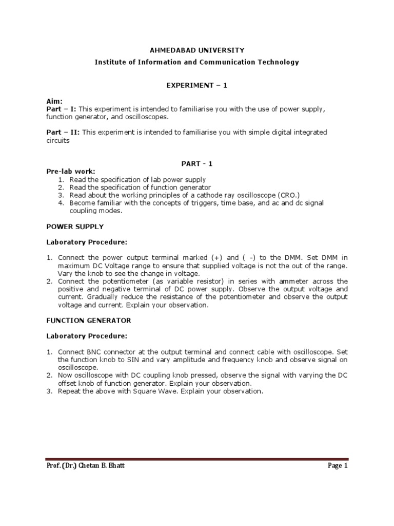 Experiment 1 Amplitude Electronic Engineering Integratedcircuit Functiongenerator