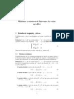 Máximos y mínimos de funciones de varias variables.