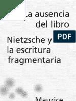 Blanchot Maurice La Ausencia Del Libro Nietsche Y La Escritura Fragment Aria