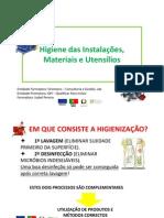 Higiene das Instalações, Materiais e Utensílios
