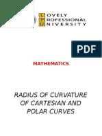 radius of curvature of cartesian nd polar curves