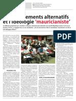 Les mouvements alternatifs et l'idéologie mauricianiste