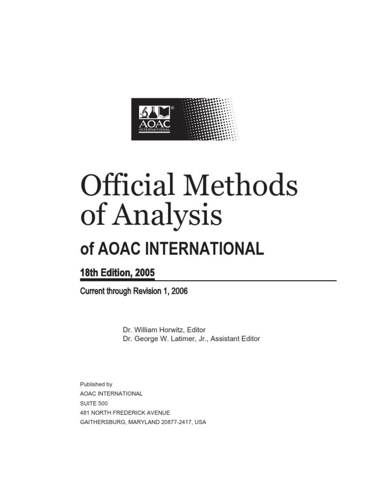 aoac 2005 brewing malt rh scribd com Validation Therapy Methods Validation Requirement