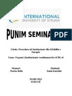 Punim Seminarik - Organet vendimmarrese te UE-së