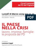 Incontro con Cesare Damiano (Pavullo, 16 marzo 2009)