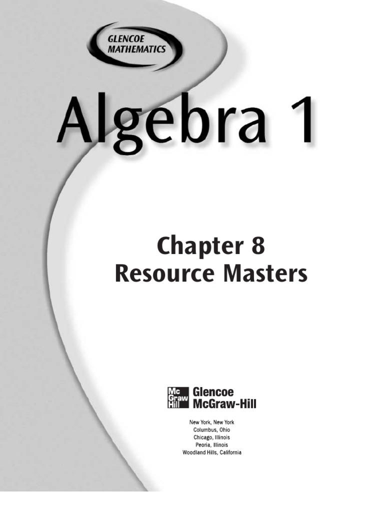 algebra 81studyguide Exponentiation – Glencoe Mcgraw Hill Algebra 1 Answers Worksheets