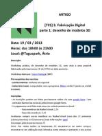 Workshop Modelação 3D, 19 Mar 2013