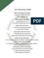 LotR Marathon Prize Giveaway Order 2013