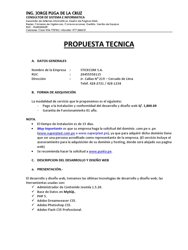 Propuesta Tecnica Web