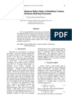 Case Studies on Optimum Reflux Ratio of Distillation Towers in Petroleum Refining Processes