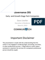 Governance of Early- and Growth-Stage Tech Companies - Dave Litwiller - March 2013