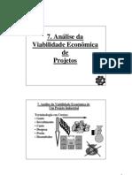 Analise Da Viabilidade Economica de Projetos