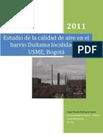 Estudio de la calidad de aire en el barrio Duitama localidad de USME, Bogotá
