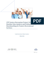 OTF Seniors Recreation Project 2020:Baseline Data Analysis and Evidence-based Benchmarking for Seniors Recreational Services