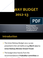 Railway Budget 2012-13 Prankur Sharma