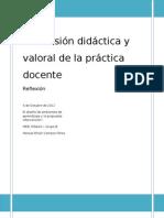 DIMENSIÓN DIDACTICA Y VALORAL EN LA PRÁCTICA DOCENTE