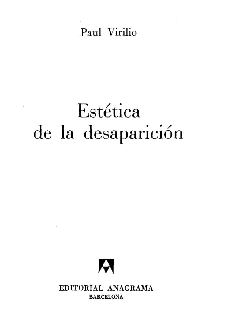 Virilio Paul Estetica de La Desaparicion