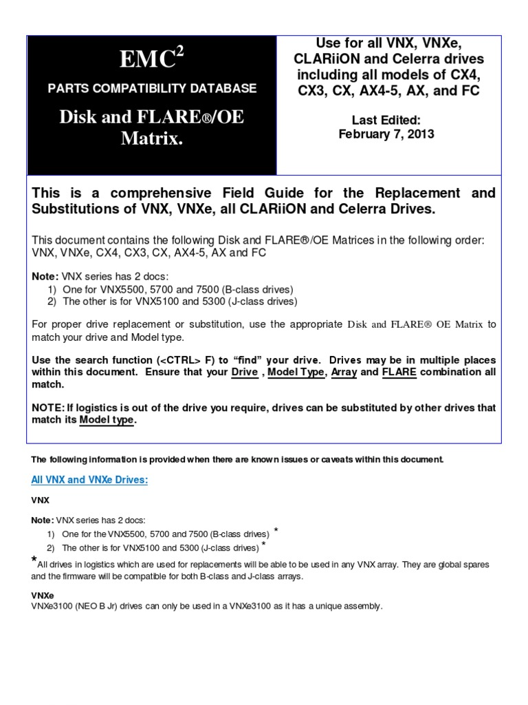 All CLARiiON Disk and FLARE OE Matrices   Hard Disk Drive