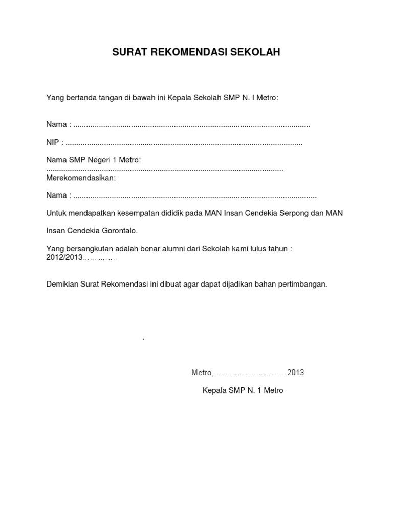 Surat Rekomendasi Sekolah