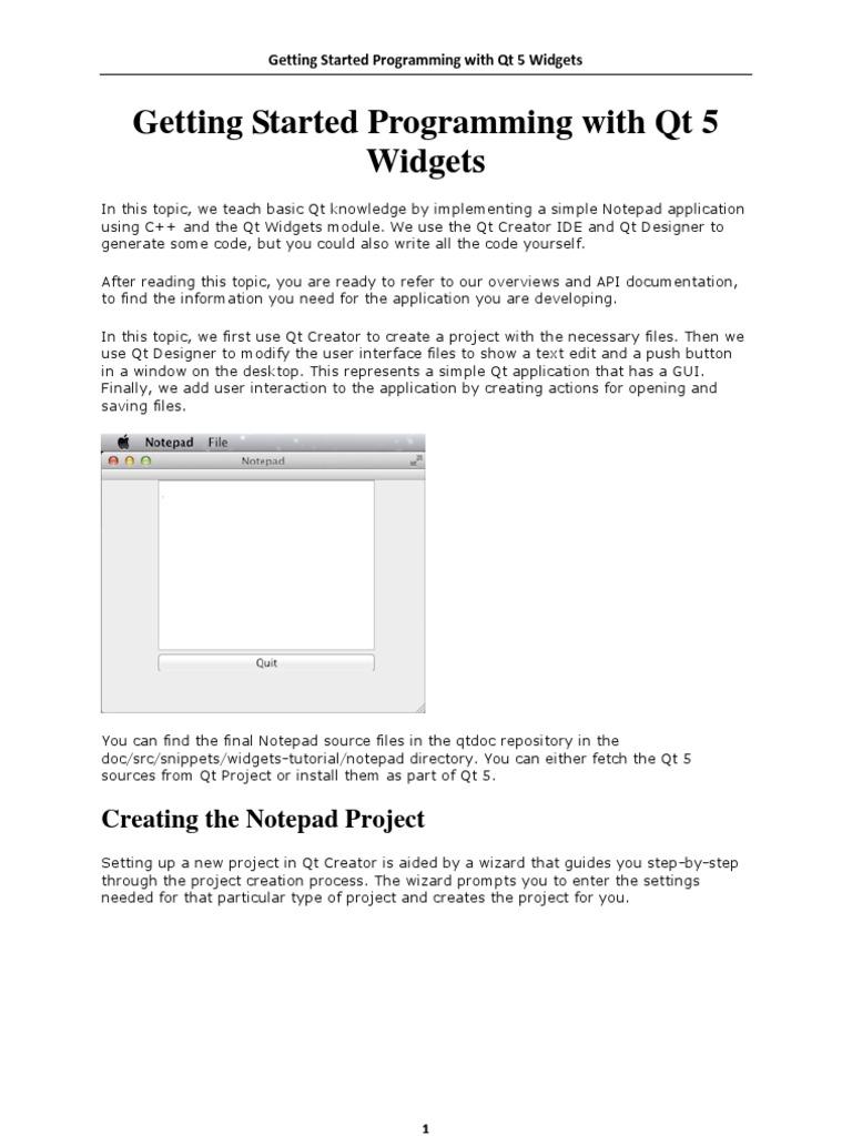 Getting Started Programming With Qt 5 Widgets | Widget (Gui