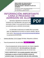 INFORMACIÓN PROCESO DE ADMISIÓN