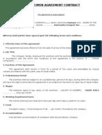 Specimen Agreement Contract