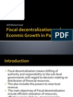 Fiscal Decentralization and Econmic Growth in Pakistan
