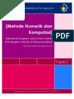Kode Python Metode LU Decomposition