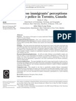 Chinese Immigrants' Perceptions of the Police in Toronto Canada Research Paper by Doris C Chu and John Huey Long Song