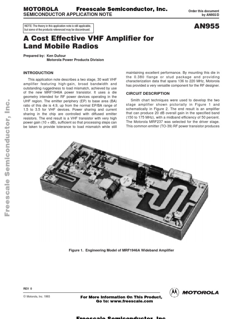 An 955 A Cost Effective Vhf Amplifier For Land Mobile Radios With 30 Watts Power Transistor