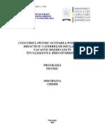 Chimie Programa Titularizare P