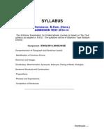 Syllabus of b.com Entrance in amu