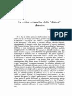 Della Volpe - Critica aristotelica della diairesi platonica