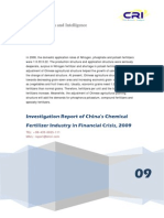 Investigation Report of China's Chemical Fertilizer Industry in Financial Crisis, 2009