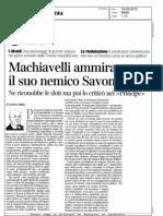Machiavelli ammirava il suo nemico Savonarola ( Paolo Mieli su Corriere della Sera)