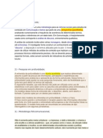 Teorias e Técnicas de Pesquisa em Comunicação