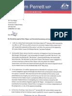 Letter from Graham Perrett MP to AFP Commissioner Mr Tony Negus