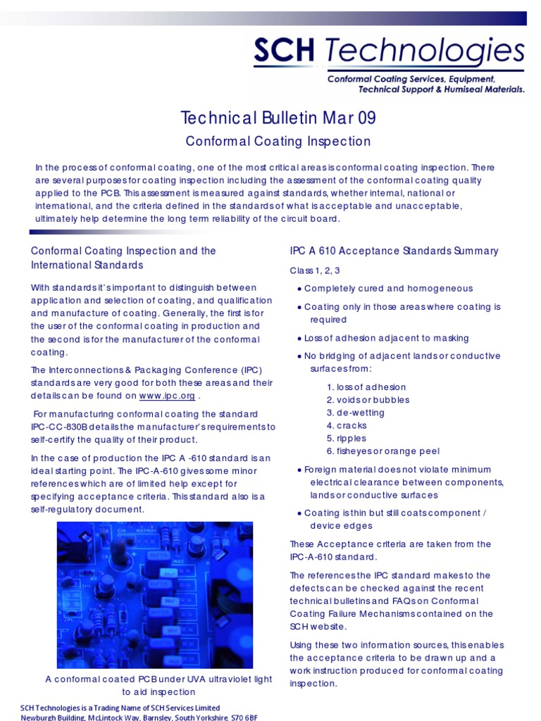 Conformal Coating Inspection Technical Bulletin Mar 09 Printed Circuit Board Electrical Engineering