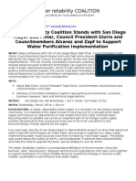 Coalition to Stand with Mayor Filner, Council President Gloria and Councilmembers Alvarez and Zapf to Support Water Purification Implementation