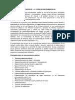 CLASIFICACIÓN DE LAS TÉCNICAS INSTRUMENTALES