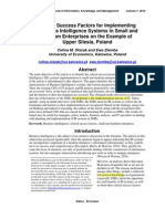 Critical Success Factors for Implementing  Business Intelligence Systems in Small and  Medium Enterprises on the Example of  Upper Silesia, Poland