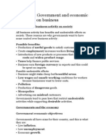 IGCSE Chapter 4- Government and Economic Influences on Business