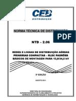 NTD – 2.06 - CEB - REDES E LINHAS DE DISTRIBUIÇÃO AÉREAS PRIMÁRIAS COMPACTAS – PADRÕES BÁSICOS DE MONTAGEM