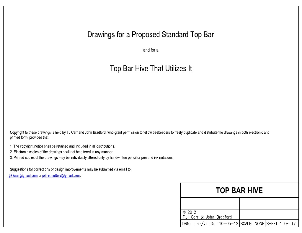 Standard Top Bar Hive Plan