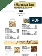 Lista de Precios MALTAS - Cervezas Hechas en Casa