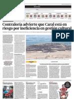 Contraloría advierte que Caral está en riesgo por ineficiencia en gestión cultural