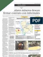 Solo 21 titulares mineros desean firmar contrato con informales