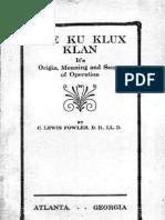 Fowler - Ku Klux Klan