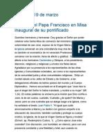 Homilía del Papa Francisco en Misa inaugural de su pontificado