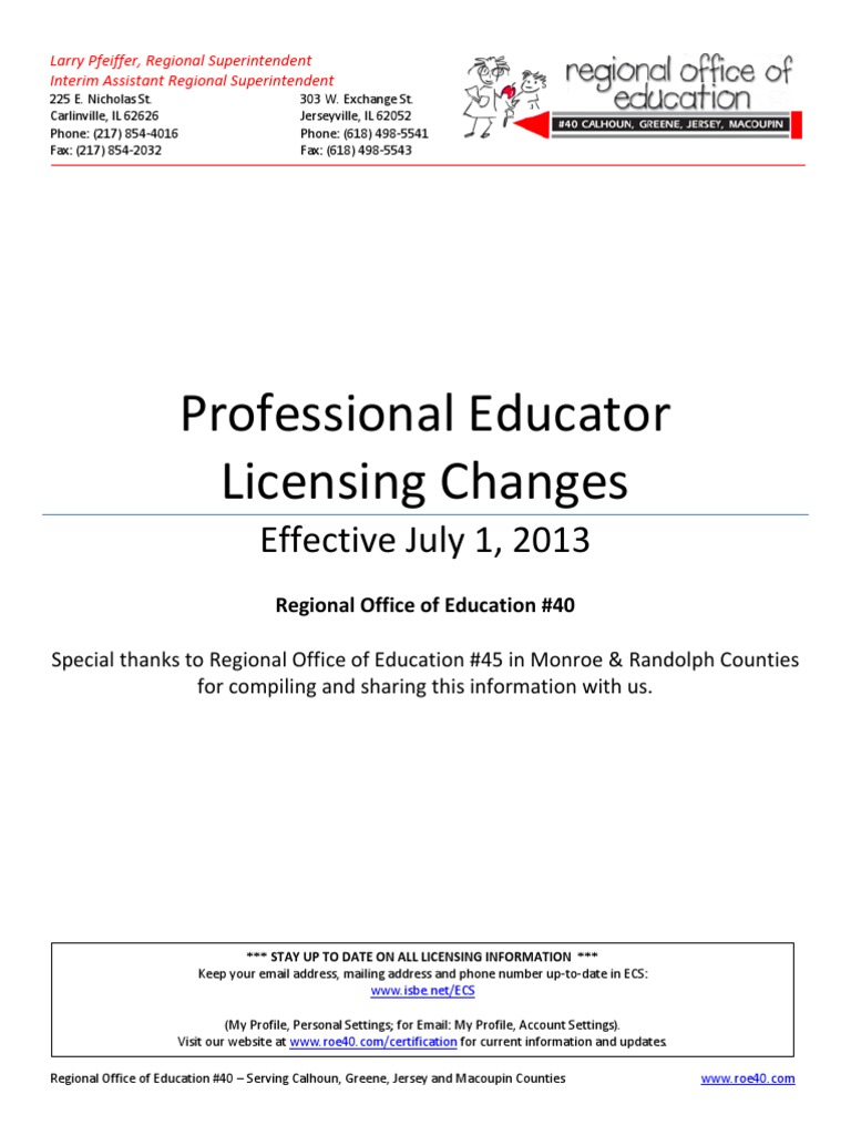 Changes To Illinois Professional Educator Licenses Licensure